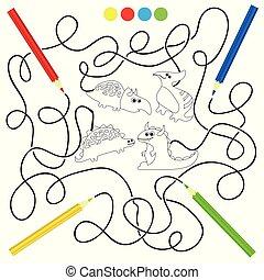 vecteur, dinosaures, livre coloration, illustration