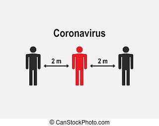 vecteur, distance, coronavirus., design., illustration, plat...