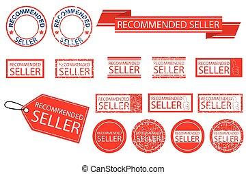 vecteur, divers, signe, style, vendeur, recommandé