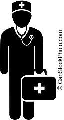 vecteur, docteur, icône