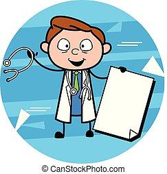 vecteur, docteur, papier, tenue, bannière, dessin animé, heureux
