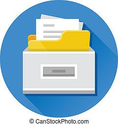 vecteur, documents, classeur