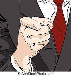 vecteur, doigt indique