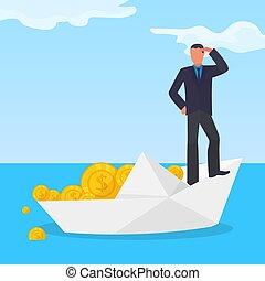 vecteur, dollar, noyade, bateau, mâle, plat, blanc, corrompu, papier, monnaie, financier, caractère, fraude, volé, scheme., illustration., or