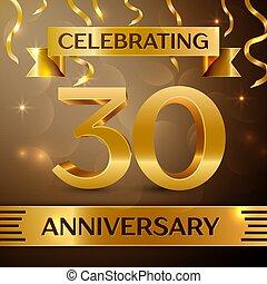 vecteur, doré, éléments, or, trente, anniversaire, années, arrière-plan., anniversaire, ruban, gabarit, confetti, design., partie., ton, coloré, célébration