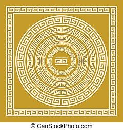 vecteur, doré, frise, art, vendange, ornement, grec, ensemble, grèce, modèle, méandre