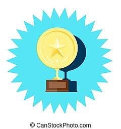 vecteur, doré, médaille, étoile, gagnant