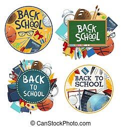 vecteur, dos, affiches, école, papeterie, education