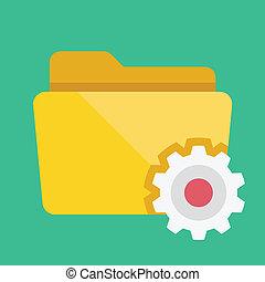 vecteur, dossier, paramètres, icône