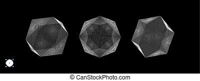 vecteur, dots., education, particles., structure, illustration., moléculaire, connexion, grid., consister, futuriste, cristal, 3d, science., objet, petit