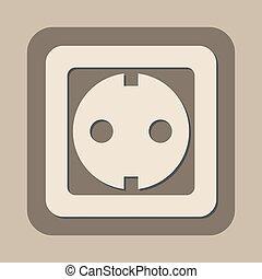 vecteur, douille, puissance, icône