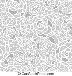 vecteur, doux, argent, gris, dentelle, roses, seamless, reprise, modèle, arrière-plan., grand, pour, mariage, ou, douche nuptiale, décor, invitations, gifts.