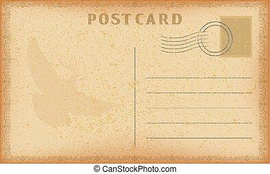 vecteur, dove., vieux, card., carte postale, vendange, cadre, papier, grunge, poste