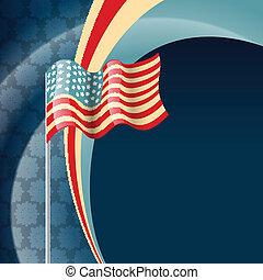 vecteur, drapeau, 4ème juillet, amérique