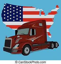 vecteur, drapeau américain, camion, illustration