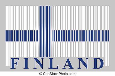 vecteur, drapeau, barcode, finlande