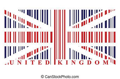 vecteur, drapeau, barcode, royaume-uni