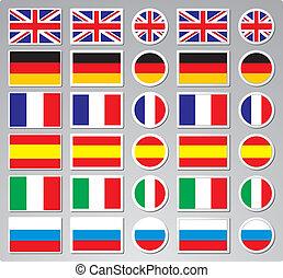 vecteur, drapeau, boutons, pour, emplacements enchaînement