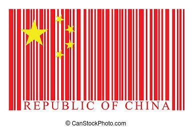 vecteur, drapeau chine, barcode