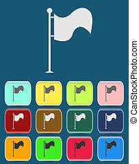 vecteur, drapeau, icône, à, couleur, variations, vecteur