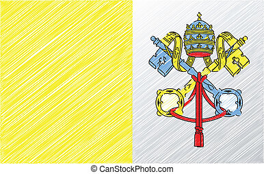 vecteur, drapeau, illustration, vatican