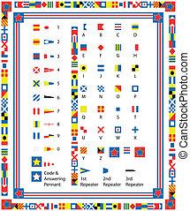 vecteur, drapeaux, bord, eps8, nautique
