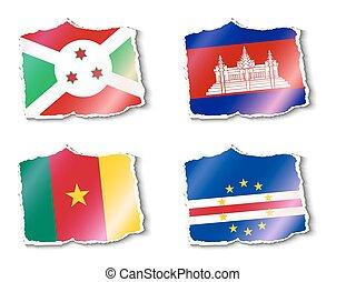 vecteur, drapeaux, mondiale, illustration