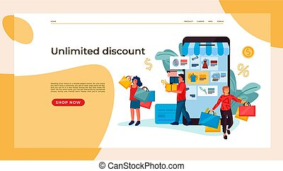 vecteur, e-commerce, page., personnes, mobile., achats,...