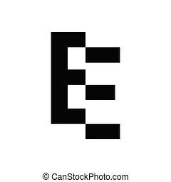 vecteur, e, fermé, initiale, lettre, coupure, logo