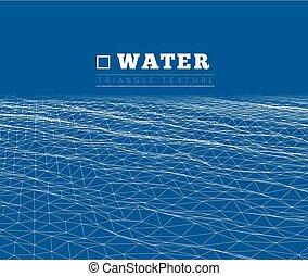 vecteur, eau, ondulé, arrière-plan grille, surface.