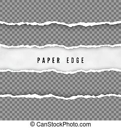 vecteur, edge., papier, texture, transparent, fond, isolé, ensemble, endommagé, déchiré, stripes., illustration