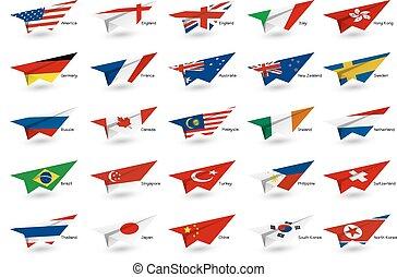 vecteur, education, et, voyage, concept, de, avion papier, à, pays, drapeau, blanc, fond