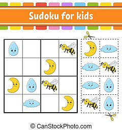 vecteur, education, worksheet., jeu, page, sudoku, training...