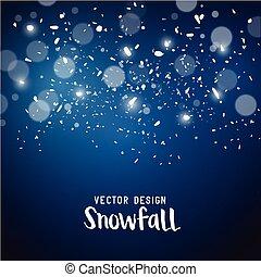 vecteur, effet, chute neige