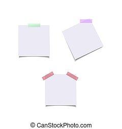 vecteur, elements., couleur, isolé, réaliste, papier, conception, feuilles, stickers.