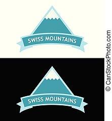 vecteur, emblème, à, suisse, alps., logo, dans, bleu, couleur, isolé, blanc, et, noir, backgrounds.