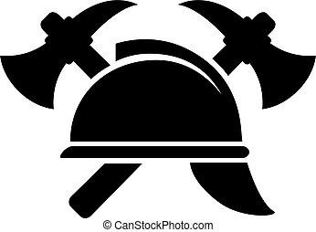 vecteur, emblème, retro, firefighting