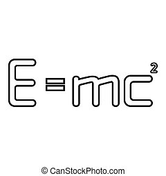 vecteur, e=mc???, formule, image, signe, education, droit & loi, couleur, énergie, égal, contour, 2, carré, style, illustration, e, noir, théorie, physique, concept, icône, e=mc, plat, mc, relativité