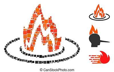 vecteur, emplacement, icône, mosaïque, carrée, brûler