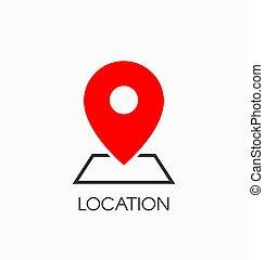 vecteur, emplacement, icône, signe