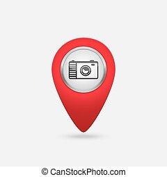 vecteur, emplacement, rouges, icône, à, appareil-photo photo, signe