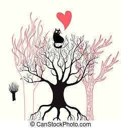 vecteur, enamored, noir, illustration, chat