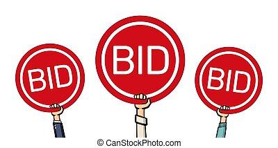 vecteur, enchère, concept., enchère, bidders', paddles., illustration, mains, levage