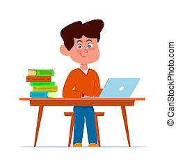 vecteur, enfant, dessin animé, sourire, pédagogique, ordinateur portable, bureau, concept, plat, séance garçon, chaise, classe, classroom., leçons, étudiant, heureux, livres, étudier, école, caractère