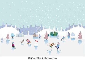 vecteur, enfants, patinage, illustration, skiing., games., sledding, hiver