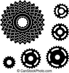 vecteur, engrenage bicyclette, roue dentée, pignon, symboles