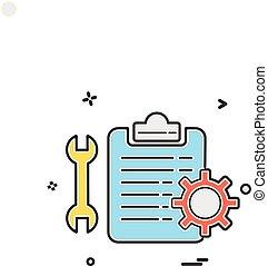 vecteur, engrenage, chèque, clé, icône, liste, conception, monture
