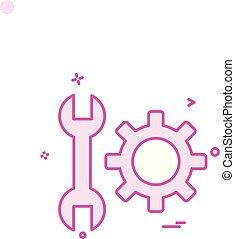 vecteur, engrenage, monture, conception, clé, icône