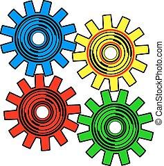 vecteur, engrenages, fond, blanc, couleurs