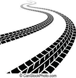 vecteur, enroulement, trace, de, les, pneus